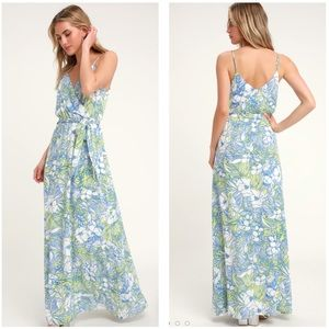 Lulus Sunrise in Paradise Blue Multi Tropical Maxi